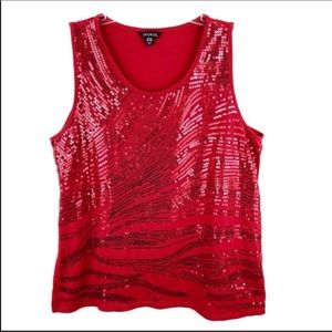 George Red Sequin Tank Top